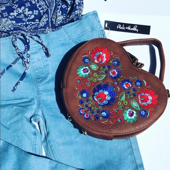 Heart Shaped Embroidered Bag Vegan Leather